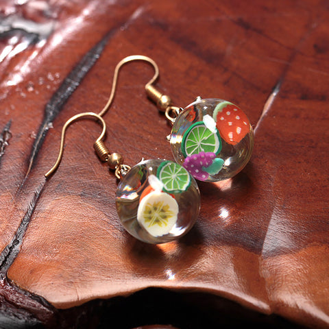 Fashion Fruit Glass Ball Hook Earrings OR Pendant Necklace Jewelry - Pauline's Phashn, Qute Karma