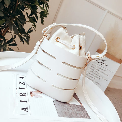 Drawstring Bucket Bag Mini PU Leather Shoulder Handbags - Pauline's Phashn, Qute Karma
