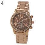 Women's Geneva Roman Number Bling Crystal Analog Quartz Alloy Wrist Watch
