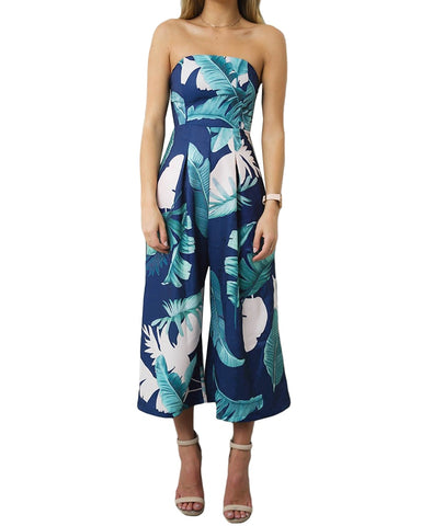 Strapless Palm Leaf Geometric Sleeveless Jumpsuit - Pauline's Phashn, Qute Karma