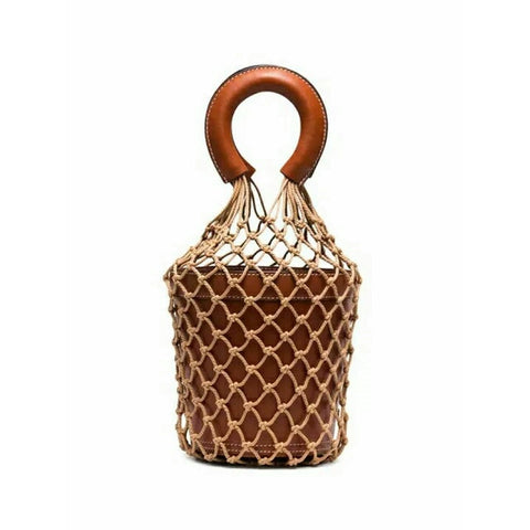 Bucket Hollow Braided Rope Net Summer Totes Bag - Pauline's Phashn, Qute Karma