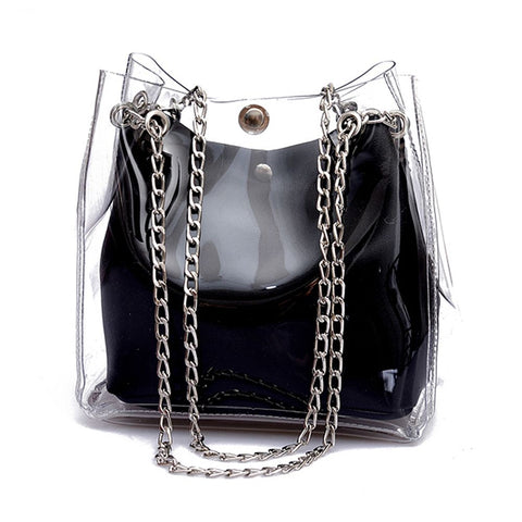 Small Bucket Transparent Chain Handle Mini Jelly Handbags - Pauline's Phashn, Qute Karma