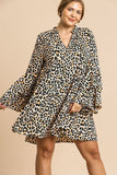Animal Print Oversize Bell Sleeve V-neck Dress - Pauline's Phashn, Qute Karma