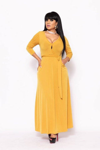 Elegant Maxi Dress With A Waist Tie - Pauline's Phashn, Qute Karma