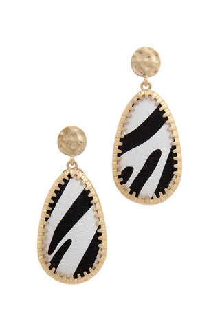 Animal Pattern Teardrop Shape Post Drop Earring - Pauline's Phashn, Qute Karma