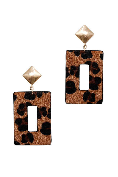 Modern Rectangle Leopard Fur Dangle Drop Earring - Pauline's Phashn, Qute Karma