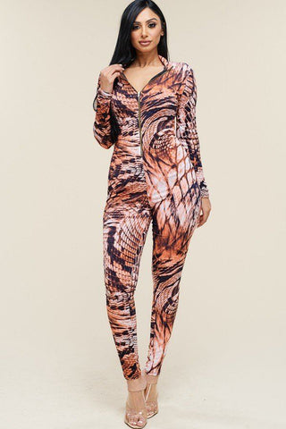 Multi Color Print Long Sleeve Zipper Front Jumpsuit - Pauline's Phashn, Qute Karma