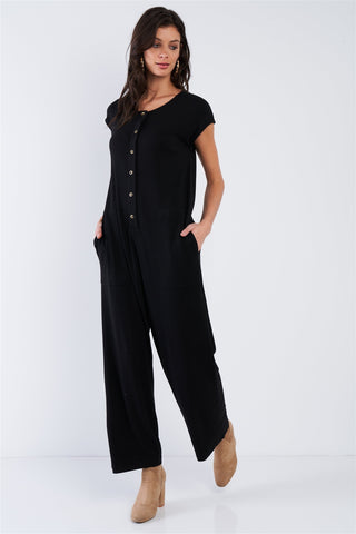 Black Button Up Jumpsuit - Pauline's Phashn, Qute Karma