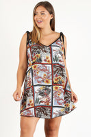 Plus Size Printed Shift Dress With A V-neck And Floral Detail - Pauline's Phashn, Qute Karma