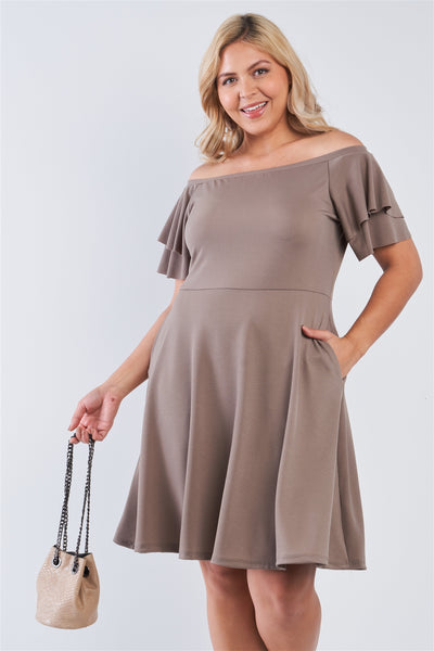 Plus Size Off The Shoulder Tiered Sleeves Midi Dress - Pauline's Phashn, Qute Karma