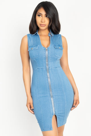 Denim Button Front Mini Dress - Pauline's Phashn, Qute Karma