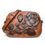 Embossed Rosy Color Flower Vegan Leather Crossbody Shoulder Bag - Pauline's Phashn, Qute Karma