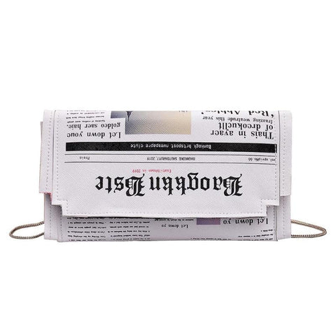 Newspaper Print Design Crossbody Flap Envelope handbag - Pauline's Phashn, Qute Karma