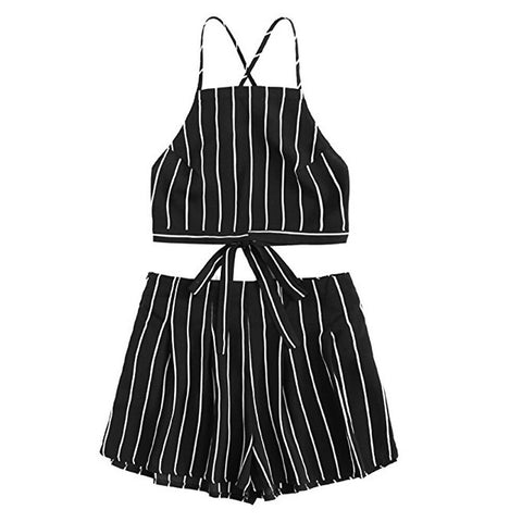 Women's Hot Backless Striped Mini Crop Shorts Set - Pauline's Phashn, Qute Karma