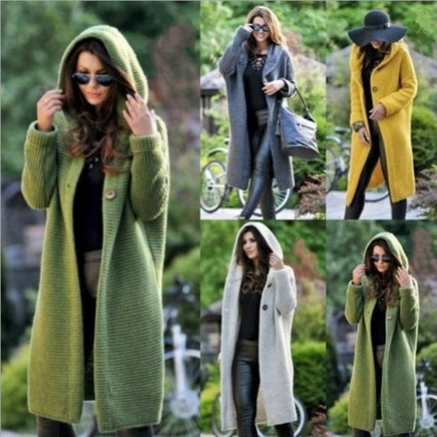 Lengthen and increase long sweater new spring and autumn cardigan hooded jacket - Pauline's Phashn, Qute Karma