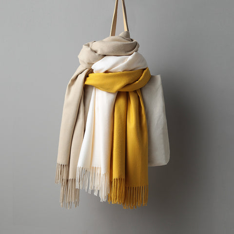 Large Warm Tassel Immitation Cashmere Scarf - Pauline's Phashn, Qute Karma
