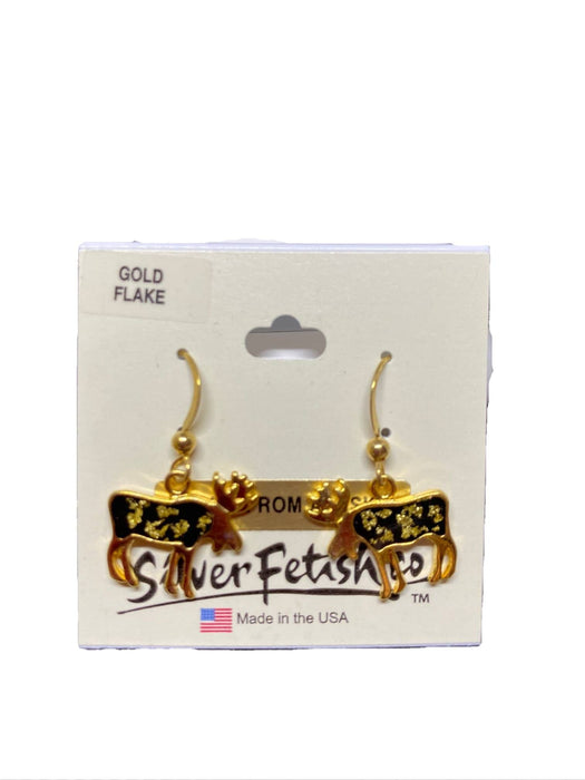 Gold Flake Moose Earrings JEWELRY