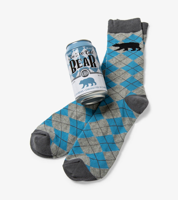 Ice Cold Bear Men's Beer Can Socks - Polar Bear Gifts