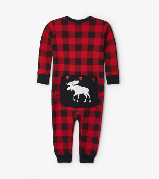Moose On Plaid, Baby Union Suit Sleepwear - Polar Bear Gifts