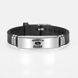 Muslim Islam Allah Bracelet Bangle Engraved Arabic Shahada Stainless Steel Silicone Bracelets For Men Women Religious Jewelry