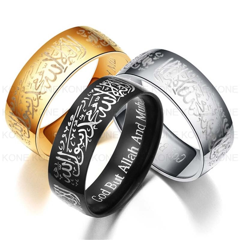 Alam Trendy Stainless Steel Kalima Tauheed Rings Muslim religious Islamic True words men women vintage bague Arabic Rings