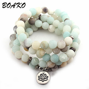 MDK Natural Stone Lotus Buddha Beads Bracelet Matte Amazonite Mala Beads Bracelets Bangles For Women Men Charm Fashion Jewelry