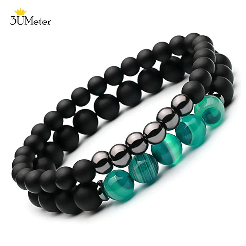 2PCS Natural Striped Agates Matte Black Onyx Beaded Bracelet for Women Men Natural Stone Hematite Bracelet Jewelry Pulseras