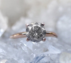 Brilliant cut Salt and pepper diamond engagement ring