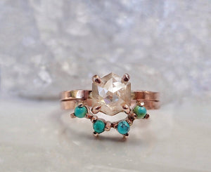 Turquoise Crown Wedding Band