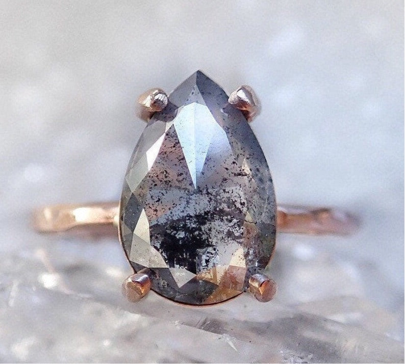 Pear Shape Salt and pepper diamond ring, raw diamond engagement ring, grey diamond ring