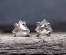 Load image into Gallery viewer, Rose Cut Salt and Pepper Diamond Stud Earrings