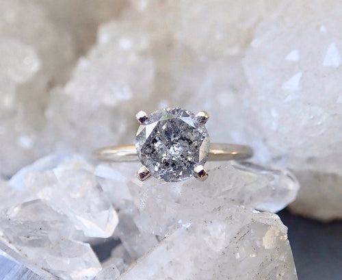Salt and pepper diamond ring, raw diamond