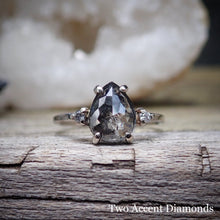 Load image into Gallery viewer, Salt and pepper diamond ring with accent diamonds