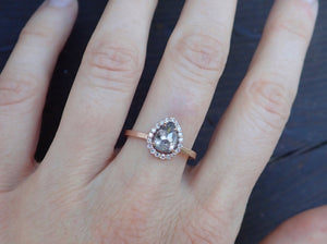 Ready to Ship: Halo Salt and Pepper Diamond Ring 14k Rose Gold, Size 7 1/2
