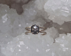 Hexagon salt and pepper diamond, double band cage ring, engagement ring
