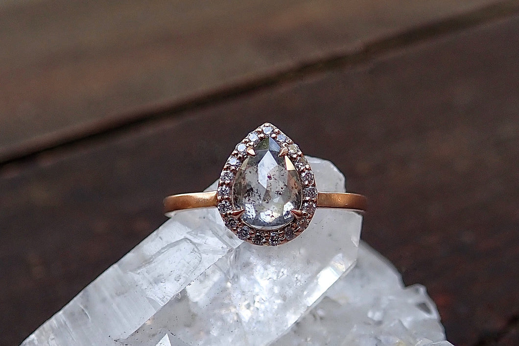 Salt and Pepper Halo Diamond Ring