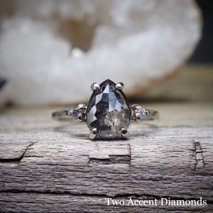 Salt and pepper diamond ring with accent diamonds