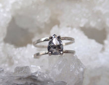 Load image into Gallery viewer, Rose Cut Pear Salt and Pepper Diamond Ring