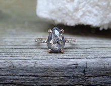 Load image into Gallery viewer, Salt and pepper diamond engagement ring