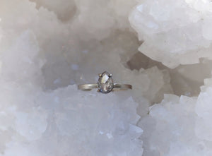 Ready to to ship: Salt and Pepper Pear Diamond Ring 14k White Gold, Size 7