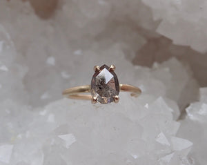 Rose Cut Pear Salt and Pepper Diamond Ring