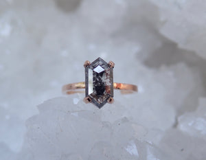 salt and pepper diamond, geometric Black diamond ring, 14k rose gold