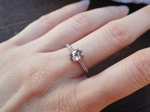 Salt and Pepper Elongated Hexagon Diamond Ring