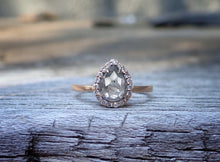 Load image into Gallery viewer, Ready to Ship: Halo Salt and Pepper Diamond Ring 14k Rose Gold, Size 7 1/2