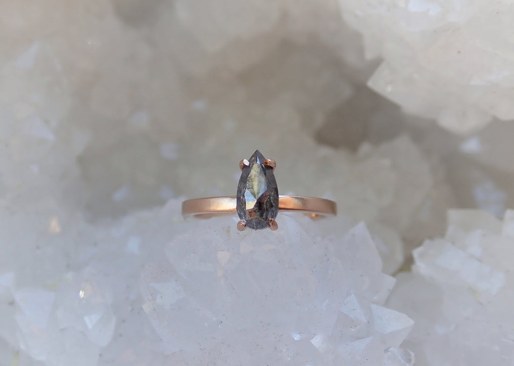 Ready to ship: Salt and Pepper diamond Ring 14k Rose Gold, Size 6