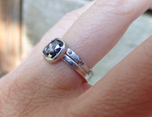 Load image into Gallery viewer, Rose Cut Cushion Salt and Pepper Diamond Ring