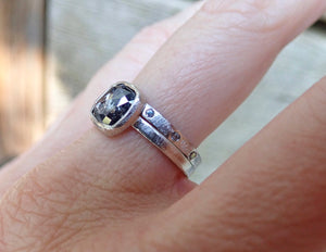 Rose Cut Cushion Salt and Pepper Diamond Ring