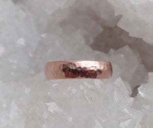 14k Rose Gold Band, Men's Wedding Band, Hammered 5mm, Half Round