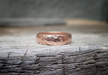 Load image into Gallery viewer, 14k Rose Gold Band, Men's Wedding Band, Hammered 5mm, Half Round