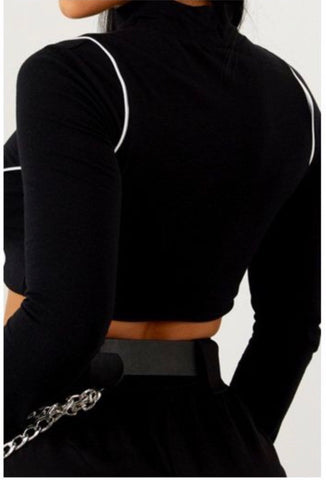Double Up Cropped Longsleeve Shirt - Black